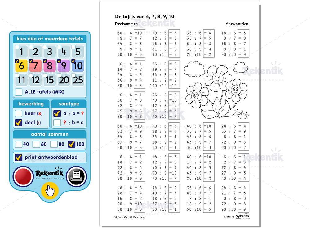 Tafels 1 Tm 10 Oefenen Werkbladen
